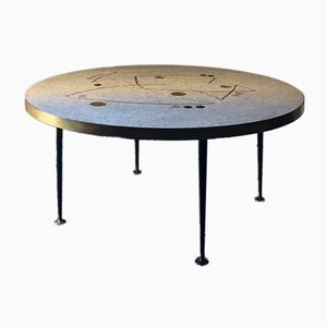 Circular Mosaic Table with Gold, Black and Lilac Accents by Berthold Müller, 1950s