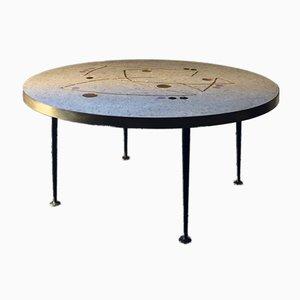 Table Circulaire en Mosaïque avec Accents Dorés, Noirs et Lilas par Berthold Müller, 1950s
