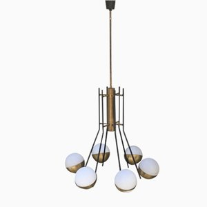 Six-Light Chandelier by Bruno Gatta for Stilnovo, 1950s