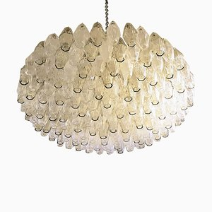 Large Vintage Polyhedron Murano Glass Chandelier by Scarpa for Venini, 1970s