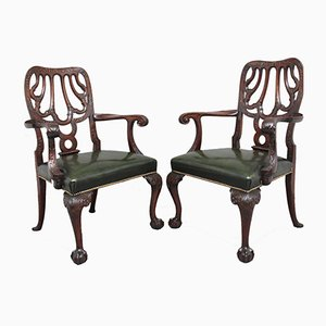 19th-Century Carved Mahogany Armchairs, Set of 2