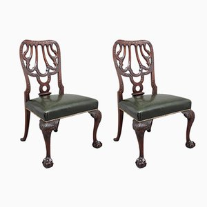 19th-Century Carved Mahogany Side Chairs, Set of 2