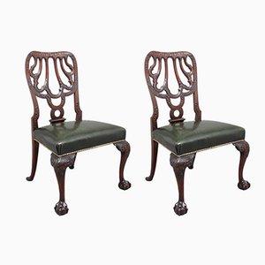 Beistellstühle aus geschnitztem Mahagoni, 19. Jh., 2er Set