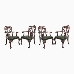 19th Century Carved Mahogany Chairs, Set of 4
