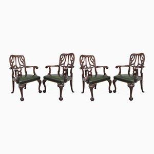 Stühle aus geschnitztem Mahagoni, 19. Jh., 4er Set