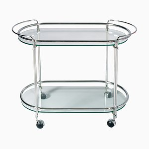 Mid-Century Brass Chrome & Crystal Bar Cart from Fontana Arte