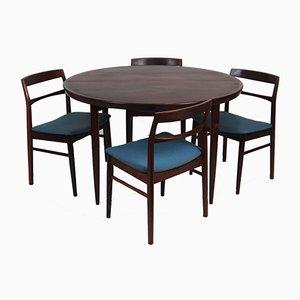 Juego de comedor escandinavo vintage de palisandro con cinco sillas