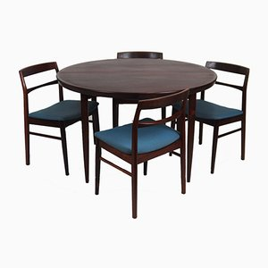 Vintage Scandinavian Rosewood Dining Table Set with 5 Chairs