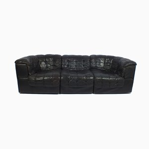 DS11 Black Leather Three Seater Sofa from De Sede, 1970s