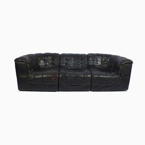 Sofá de tres plazas DS11 de cuero negro de De Sede, años 70