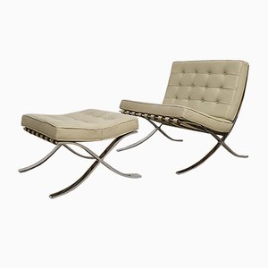 Vintage Barcelona Chair with Ottoman by Mies van der Rohe for Knoll International