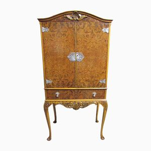 Vintage Queen Anne Burr Walnut Drinks Cabinet