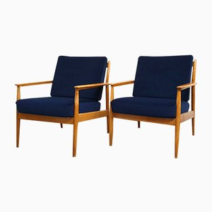 Navy Blue Velours Armchairs, 1960s, Set of 2