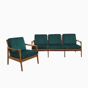 Juego de sillones vintage con tapicería de terciopelo, años 60