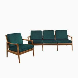 Vintage Lounge Set with Velvet Upholstery, 1960s