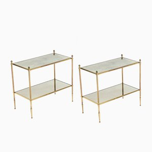 Mirrored Brass Side Tables from Maison Baguès, 1950s, Set of 2