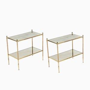 Tables en Laiton et Miroir avec Bouts de Canapé de Maison Baguès, 1950s, Set de 2