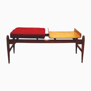 Mid-Century Set aus Sitzbank & Spiegel mit geschwungenem Holzrahmen, 1950er