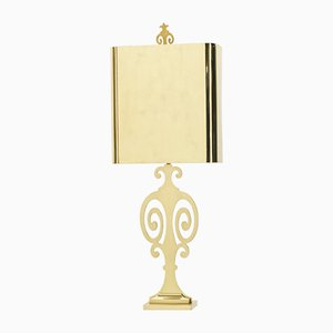 Lámpara de mesa neoclásica de latón de Maison Charles, años 70