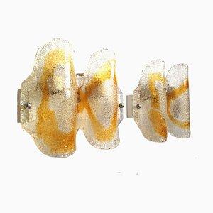 Apliques de pared de cristal de Murano de Mazzega, años 70. Juego de 2