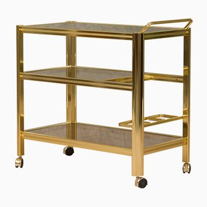 Vintage Italian Brass Bar Trolley