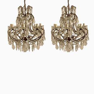 Lámparas de araña italianas vintage con cuentas de cristal. Juego de 2