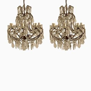 Vintage Italian Crystal Beaded Chandeliers, Set of 2