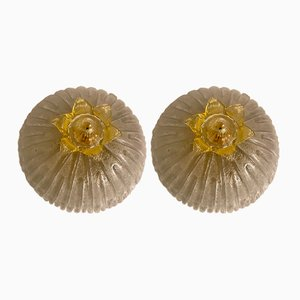 Vintage Murano Glass Flushmounts, Set of 2