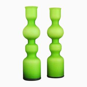 Jarrones de cristal de Murano satinado de Carlo Moretti, años 60. Juego de 2
