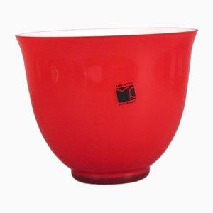 Cuenco de cristal de Murano rojo de Carlo Moretti, años 60