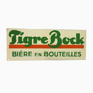 Insegna pubblicitaria Tigre Bock vintage smaltata