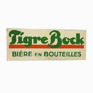 Panneau Publicitaire Tigre Bock Vintage en Émail