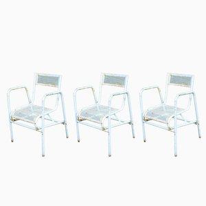 Vintage Gartenstühle aus perforiertem Stahl, 3er Set