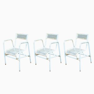 Vintage Perforated Steel Garden Chairs, Set of 3