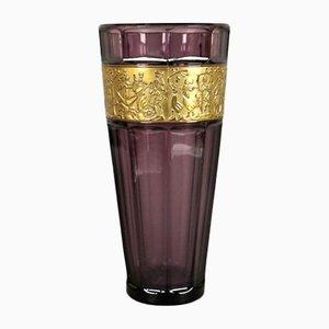 Violette Vase im Jugendstil aus Glas von Ludwig Moser für Moser Glassworks, 1900er