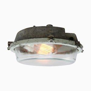 Industrielle Vintage Wandlampe aus Aluguss & Glas