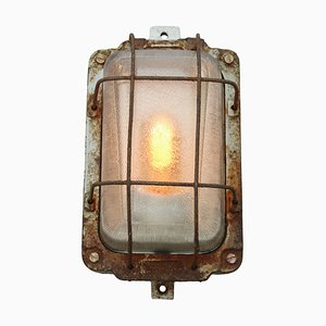 Vintage Industrial Cast Iron & Glass Wall Light