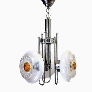 Lámpara colgante italiana de metal cromado y cristal de Murano de Mazzega, años 70
