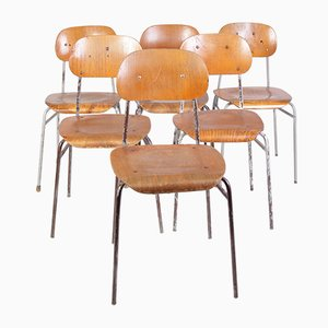 Vintage School Chairs, Set of 6