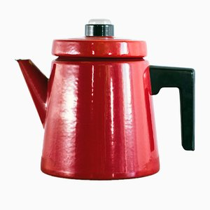 Enameled Cast Iron Coffee Pot by Antti Nurmesniemi for Finel, 1950s
