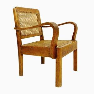Vintage Wood & Cane Armchair