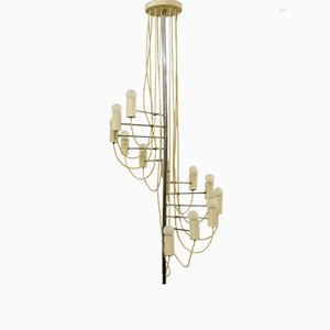Mid-Century Minimalist French A16 Chandelier by Alain Richard for Disderot