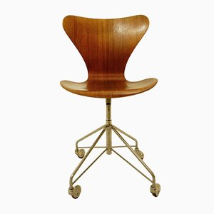 Silla de escritorio giratoria 3117 de Arne Jacobsen para Fritz Hansen, 1955