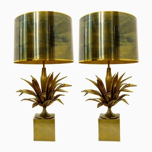 Bronze & Brass Table Lamps by Maison Charles, 1970s, Set of 2