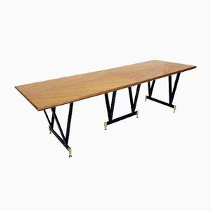 Mesa de comedor extra larga de nogal, años 60