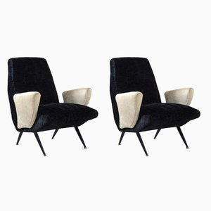 Mid-Century Velvet Armchairs by Nino Zoncada, Set of 2