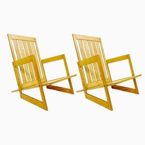 Armlehnstühle aus Eschenholz, 1970er, 2er Set