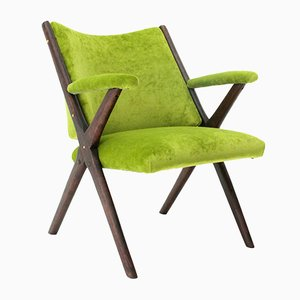 Mid-Century Italian Velvet Green Armchair from Dal Vera, 1950s