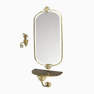 Specchio a muro Mid-Century con consolle e gancio