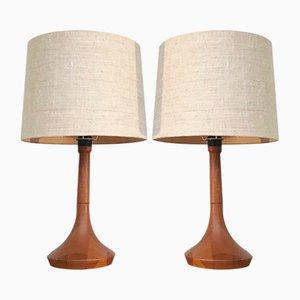 Tischlampen aus Holz, 1980er, 2er Set